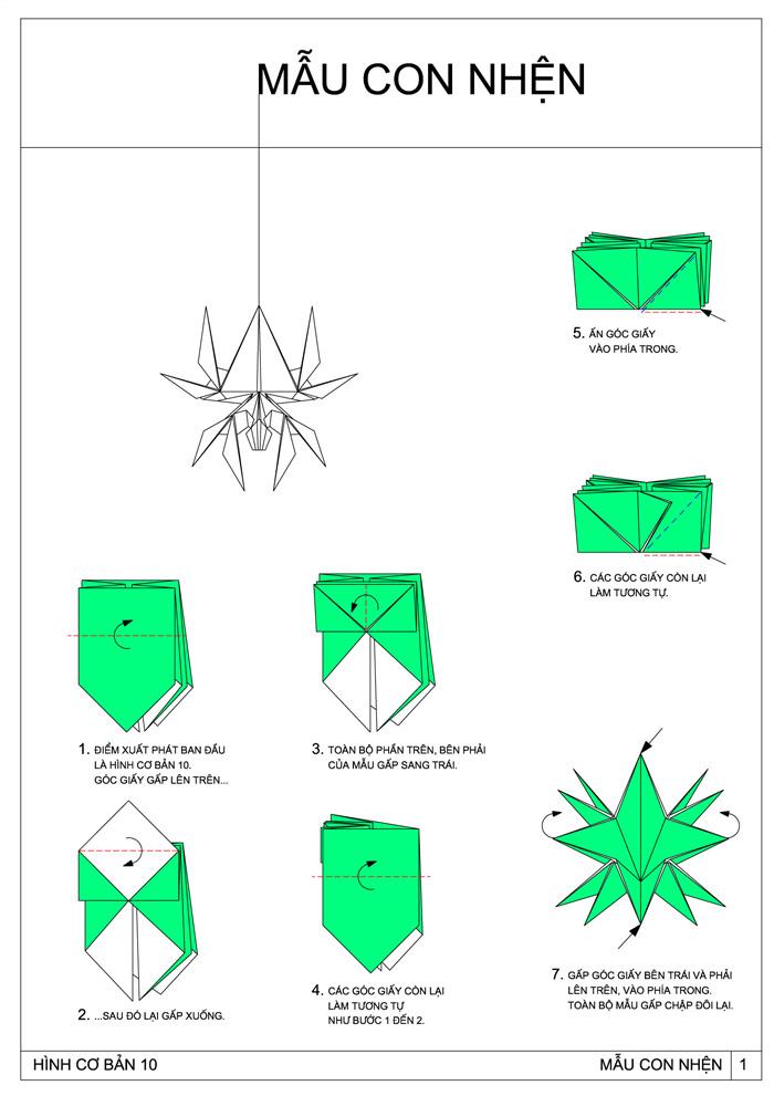 Паук из оригами схема